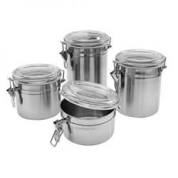 Conjunto 4 potes Inox Plaza
