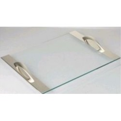 Bandeja Retangular Vidro Com Alças de Prata 45X35