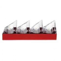 Conjunto Castiçal de Cristal Transparente Orrefors 4 Pçs